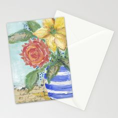 Three Flowers in a Striped Vase Stationery Cards by Edith Jackson-Designs | Society6