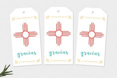 A favorite of New Mexico, these printable gift tags feature the Zia sun symbol and the word, gracias. The Zia sun symbol is said to represent many things, including the sacred aspects to develop a strong body, a clear mind, a pure spirit, and a devotion to the well-being of others.  Download once and print as many times as you like.  ♡ Ready for instant download, this listing includes one digital 8.5 x 11 PDF file with ten gift tags per page.  ♡ Print at home or at your local print shop on…