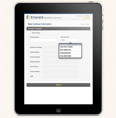Design Junction has developed a mobile web application for Emerald to allow their salepeople to use iPad and record their contract details then send PDF of the final contract to their customers on the go.