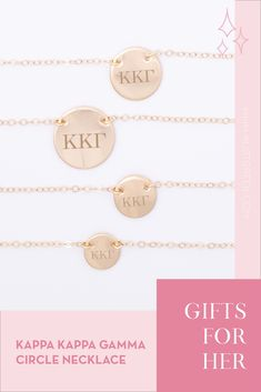 Sorority circle necklaces are the easiest gift for any celebration: Recruitment, Bid Day, Back to School & Big/Little. Spoil your new sorority girl with our simple and dainty Greek letter circle necklace! Kappa Kappa Gamma Gifts | Kappa Kappa Gamma Bid Day | KKG Necklace | Kappa Kappa Gamma Jewelry | Sorority Bid Day | Sorority Recruitment | Sorority Jewelry Gifts | Sorority College Gift | Sorority New Member Gift Ideas | Dainty Jewelry | Simple Gold Necklace #SororityGifts #SororityJewelry Gold Necklace Simple, Circle Necklace, Simple Jewelry, Dainty Jewelry, Letter Necklace, Jewelry Gifts, Sorority Bid Day, College Sorority, Sorority Recruitment