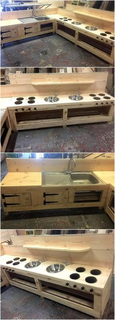 Now here is an idea for create a mud kitchen with the wooden pallets, this idea can save a huge amount of money for getting a kitchen from the market and get it installed. There are spaces with the doors to store the items and spice bottles.