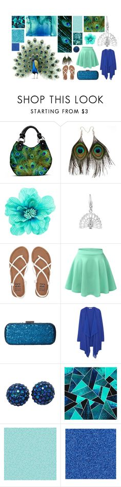"""""""Peacocks"""" by myrtletheturtle17 ❤ liked on Polyvore featuring Dream Collective, The Bradford Exchange, claire's, Billabong, LE3NO, Jessica McClintock, MANGO, Kerr®, INDIE HAIR and Sally Hansen"""