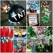http://onmysideoftheroom.blogspot.com/2011/10/superhero-party-gamesactivities.html