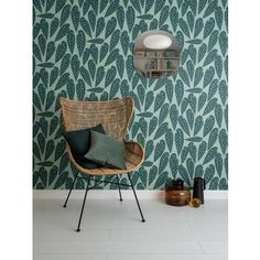A large scale tropical leaf design based on the Polka-Dot begonia creates an expanding leaf canopy covering the walls of your home. Tropic Jungle, Decor Interior Design, Interior Decorating, Boutique Deco, Best Decor, Canopy Cover, Jungles, Blue Leaves, Chairs