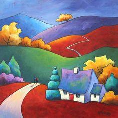 Cross stitch modern art by Gillian Mowbray 'Golden Days ' cross stitch kit - Gift Ideas Landscape Quilts, Landscape Art, Art Fantaisiste, Art Et Illustration, Arte Popular, Art Moderne, Naive Art, Whimsical Art, Oeuvre D'art