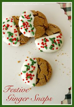 Festive Ginger Snap Cookies by whatscookingwithruthie.com