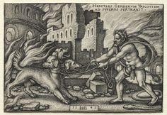 Hans Sebald Beham (1500-50) - The Labors of Hercules: Hercules Bringing Cerberus to the Upper World (1545) engraving; Cleveland Museum of Art