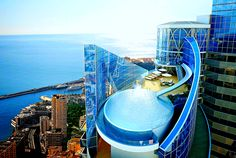 France, Monaco: This is an image of the Tour Odéon yet to be completed, which will feature a penthouse apartment where the infinity pool is linked by a slide. Kensington Palace Gardens, Infinity Pools, Petite France, Roof Terrace Design, World Watch, Luxury Penthouse, Rooftop Pool, Expensive Houses, Water Slides
