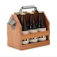 Whether he's eager to show his enthusiasm for his favorite local brewery, or enjoy a crisp brew with his picnic lunch, taking his beer to go gets a rustic touch in this lightweight wooden beer tote.
