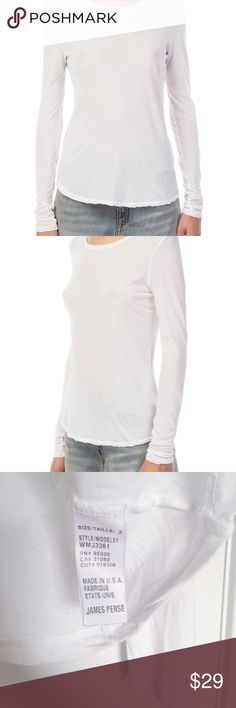 JAMES PERSE White Long Sleeve Crew Neck Tee Brand new, no flaw. Classic white long sleeve crew neck tee. This must-have basic is a perfect addition to any closet. Flattering slim cut and easy to style versatile silhouette. Pair with skinny jeans and a boyfriend cardigan for casual cool. Try with cargo pants and ballet flats. Material: 100%Cotton. James Perse Tops Tees - Long Sleeve