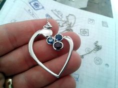 Hand made 925 sterling silver and white gold plated ruby and sapphire stone
