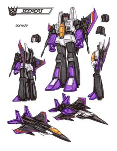 Skywarp : Skywarp is the sneakiest of all Decepticons. Enjoys playing cruel pranks on fellow Decepticons and appearing out of nowhere to attack Autobots. Not too smart. Would be useless without Megatron's supervision. Top speed of 1500mph. Can instantly teleport up to 2.5 miles. Carries heat-seeking missiles and variable-calibre machine guns. This photo was uploaded by TransformersArkColor