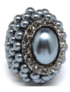 CHUNKY GREY/BLUE PEARL CLUSTER LADIES FASHION STRETCH RING - View All Rings - Rings - Jewellery
