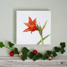 Amaryllis Botanical Canvas Print by TheBotanicalConcept on Etsy