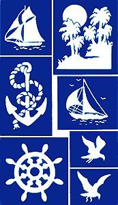 Etching Stencil - Nautical - Ship, Island, Anchor, Sailboat