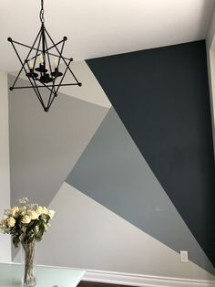 Accent Wall Painting Geometric Ideas For 2020 Bedroom Wall Designs, Accent Wall Bedroom, Accent Walls, Diy Bedroom, Bedroom Kids, Wall Paint Patterns, Painting Patterns, Wallpaper Patterns, Room Wall Painting