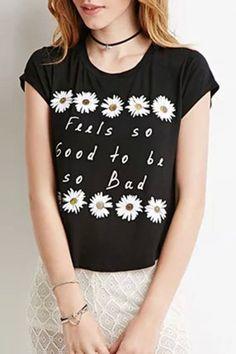 Daisy Floral Print Black Summer Tee - OASAP.com