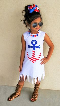 Patriotic Anchor Fringe Dress #boutique-outfits #clearance #dresses #new #newborn-clothing #perfect-sets #spring-line