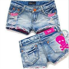 Pink Skull Denim Shorts #likes4likes #ootd