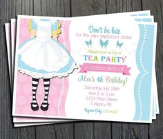 Alice in Wonderland Birthday Invitation - FREE Thank You Card included