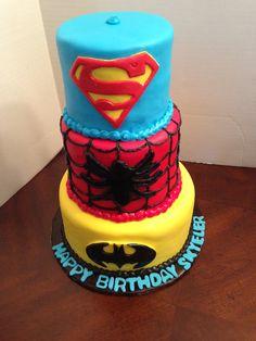 Fondant Superhero themed cake. Cake Kouture by Char  Denver Co