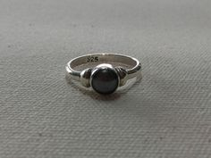 Gray Pearl Silver Ring with Handmade Sterling Silver 925 # Beautiful simple rings for use every days or special events.