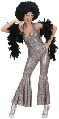 Silver disco costume for women: This shiny silver disco costume for women consists of a short-sleeved jumpsuit with circle patterns. This costume is ideal for reliving the disco. Disco Costume Diy, Disco Costume For Women, 70s Costume, Queen Costume, Costumes For Women, Costume Ideas, Komplette Outfits, Hippie Outfits, 70s Mode