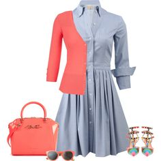Coral and blue by lenaick on Polyvore featuring moda, Michael Kors, Valentino, Ted Baker and Toast