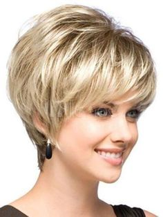 Women Short Hair Wigs Mix Blonde Natural Hair Full Wigs +Free Wig Wig