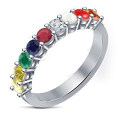 925 Silver Traditional Navratna Multi-Color Nine Gemstones Women's Band Ring…