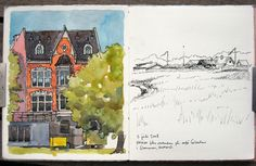Nina Johanssen...like the contrast on this spread: watercolor and pen & ink sketch
