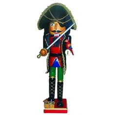 Arrghh there be hidden buried treasure! Nutcracker is all decked out in his finest pirate uniform and hat, toting a parrot on one arm and carrying his cutlass 28576023