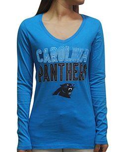 0404185e3 Womens CAROLINA PANTHERS Athletic V-Neck Glitter T Shirt ...