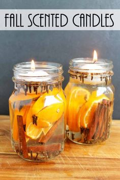 Fall Candles: Make These for Fall Scents : Make these fall candles for your home in just minutes! Make these fall candles for your home in just minutes! Make these fall candles for your home in just minutes! Fall Candles, Mason Jar Candles, Floating Candles, Diy Candles, Scented Candles, Fragrant Candles, Candels, House Candles, Fall Candle Centerpieces