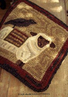 2-oldekrows primitive sheep hooked rug. rug hook, hook rug, hands, rughook, mat, ebay, wool rugs, crows, crow primit