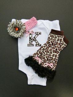 Monogram Cheetah Pink Onesie Baby Girl Diva Gift Set With Leg Warmers. $29.00, via Etsy.