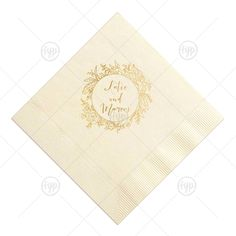 685296f07 ForYourParty s elegant Ivory Cocktail Napkin with Shiny 18 Kt Gold Imprint  Foil Color has a Peony