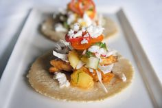 peach BBQ chicken tacos with fresh peach salsa and pickled peppers