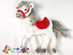 Crochet Applique horse by HomeArtist on Etsy Scrap Yarn Crochet, Crochet Birds, Crochet Faces, Knit Or Crochet, Crochet Motif, Crochet Animals, Crochet Flowers, Crochet Toys, Crochet Animal Patterns