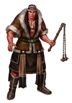 m Barbarian Cloak Flail Wilderness Javier Charro lg Character Concept, Character Art, Character Design, Fantasy World, Fantasy Art, Human Pictures, Savage Worlds, Pathfinder Rpg, Sword And Sorcery