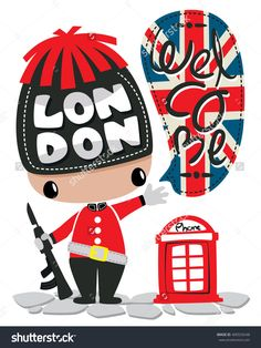 Cute soldier with red telephone booth and saying welcome on white background illustration vector.