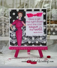 Pink Persimmon - Sassy Girl, $15.00.  Clear photopolymer stamp set.  (http://www.pinkpersimmon.com/sassy-girl/)  Card designed by Melisa Waldorf