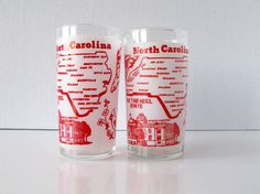 Vintage North Carolina Souvenir Glasses Tar Heel State by Sfuso