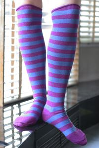 Purple Knees---Really bold in Denim, really feminine in lilac, but I love them both. $6.00