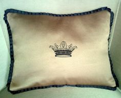 Hey, I found this really awesome Etsy listing at https://www.etsy.com/listing/180063106/crown-embroidered-pillow-cover-with
