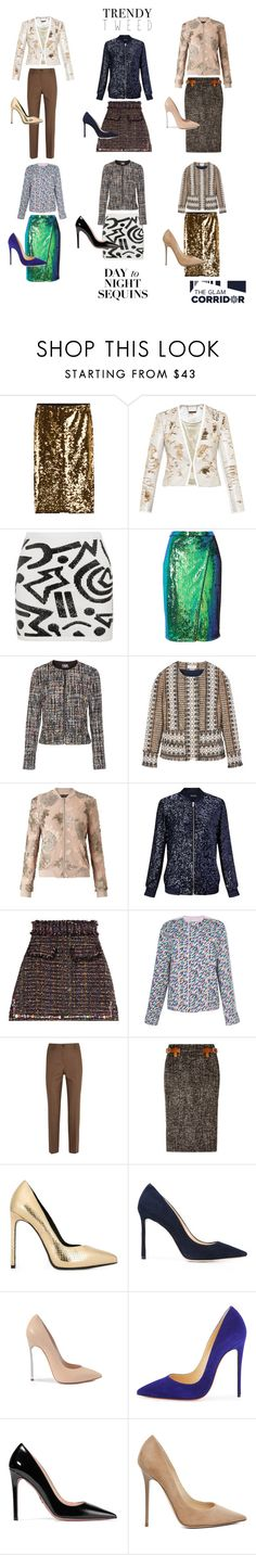 """""""Sequins and tweed?! Why not?!"""" by theglamcorridor ❤ liked on Polyvore featuring Mes Demoiselles..., Ted Baker, Sibling, River Island, Karl Lagerfeld, Tory Burch, Miss Selfridge, MSGM, Agnona and Michael Kors"""
