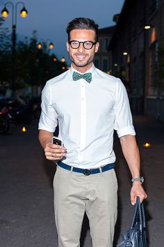Glasses bow tie shirt. Nice.