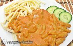Sertésszelet temesvári módra recept fotóval Hungarian Recipes, Hungarian Food, Pork Dishes, Spaghetti, Food And Drink, Meat, Ethnic Recipes, Hungary, Hungarian Cuisine