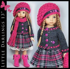 """Gray & Pink Outfit + BOOTS Little Darlings Effner 13"""" by Maggie & Kate Create"""