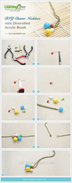 DIY Cluster Necklace with Diversified Acrylic Beads